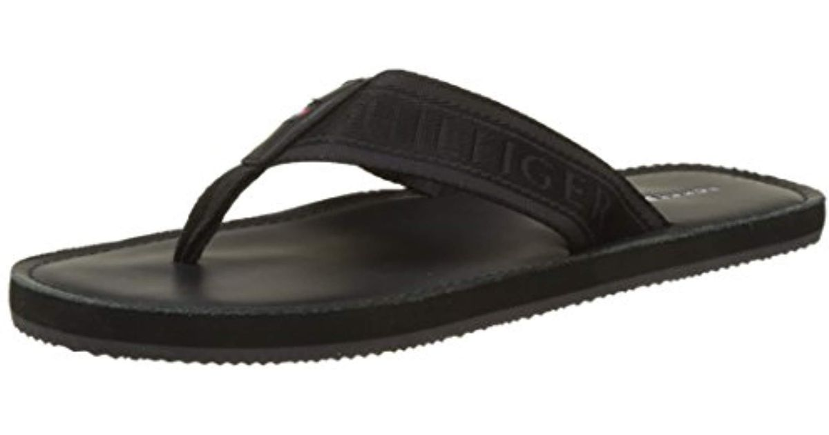 59ce0dbbb77c Tommy Hilfiger Jacquard Th Leather Beach Sandal Flip Flops in Black for Men  - Lyst
