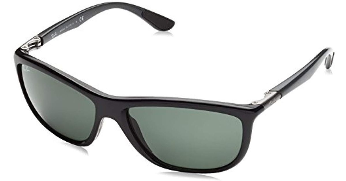 a86b43c13b Ray-Ban Active Lifestyles Square Wraparound Sunglasses In Shiny Havana  Rb8351 622173 60 in Black for Men - Lyst