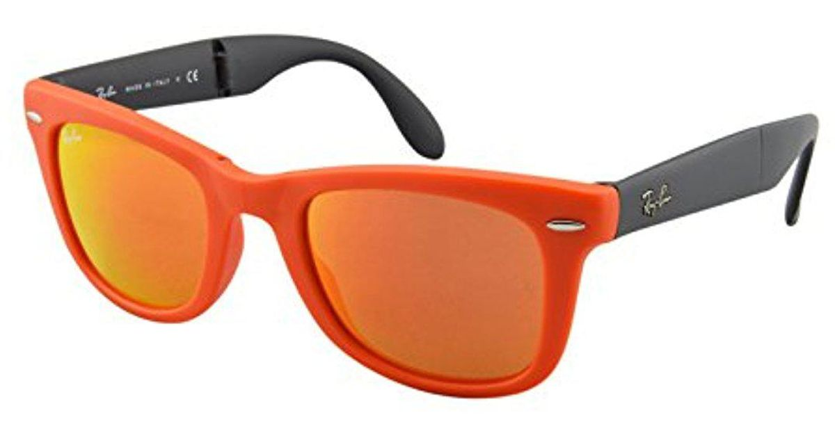 a07b41462 ... authentic lyst ray ban rb4105 folding wayfarer square sunglasses in  orange ab149 61bd9