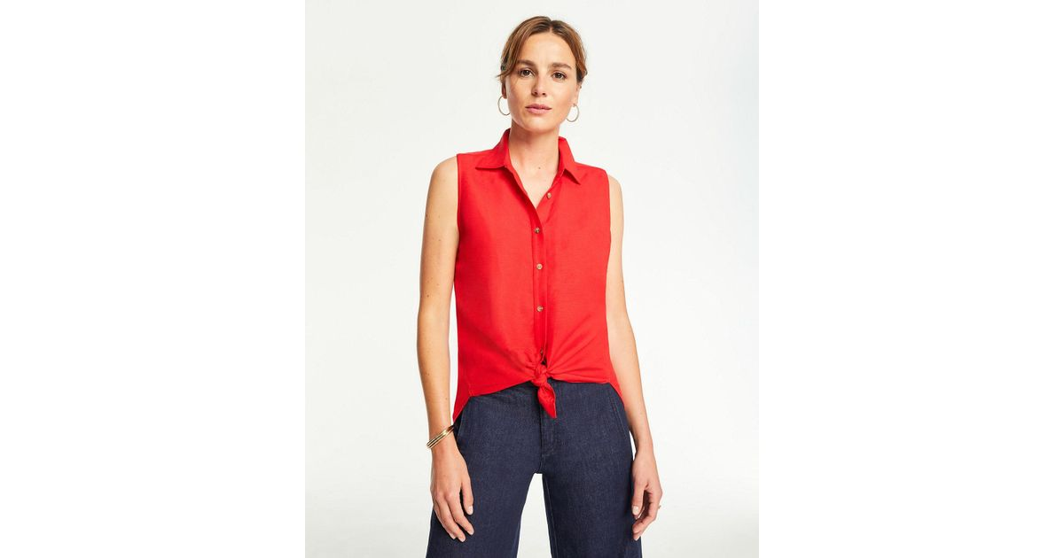 26aecf10 Ann Taylor Linen Blend Sleeveless Button Down Shirt in Red - Save 4% - Lyst