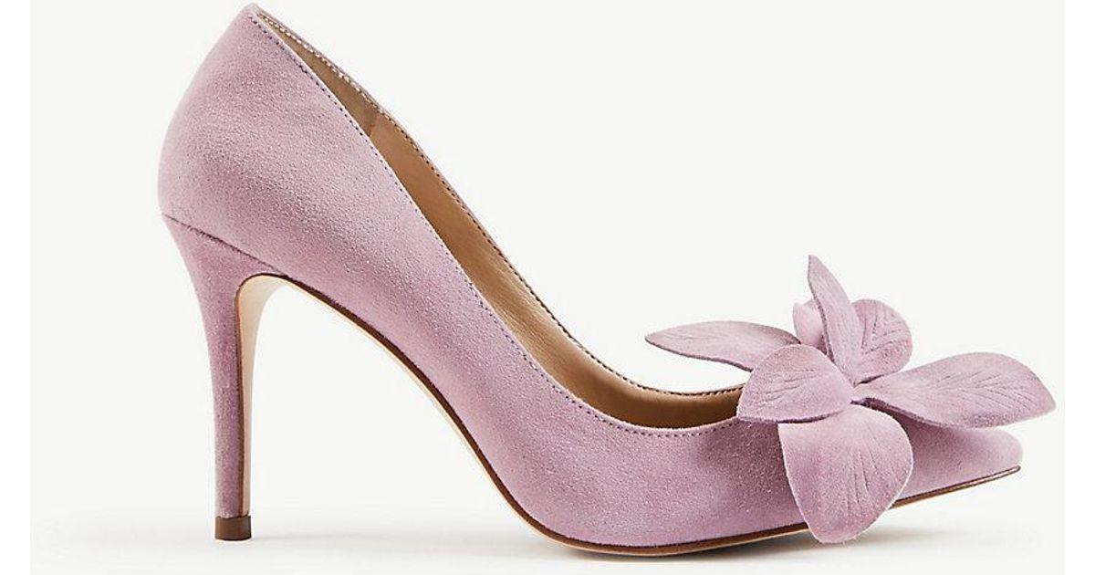 Lyst ann taylor effie suede flower pumps in pink mightylinksfo