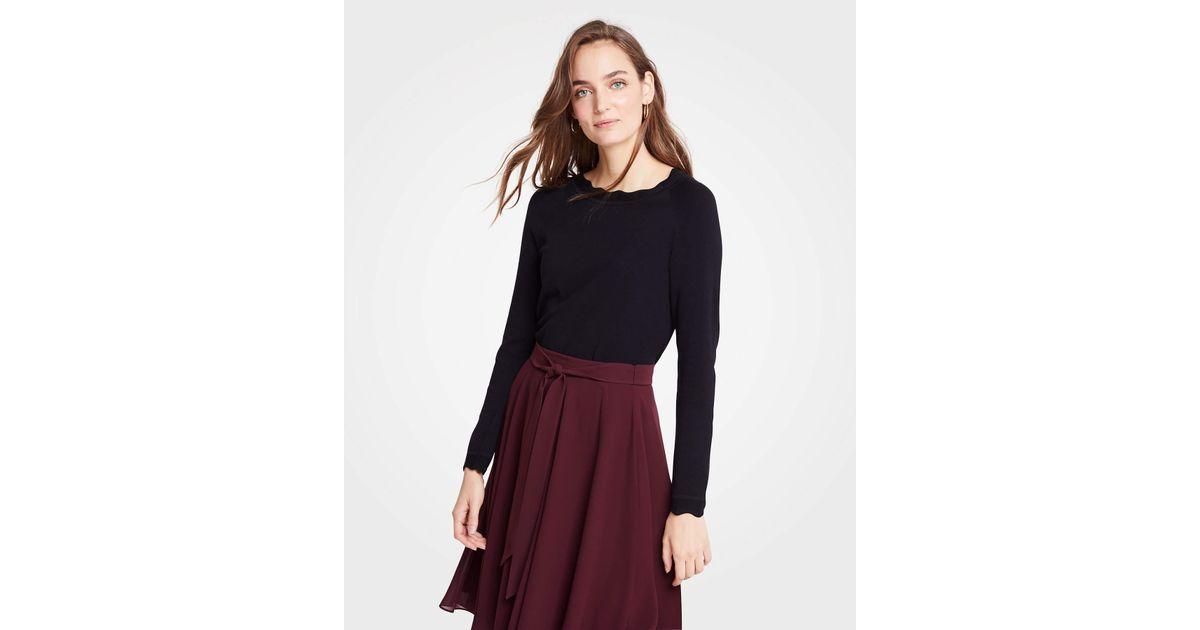 476fb2e23f Lyst - Ann Taylor Petite Scalloped Sweater in Black