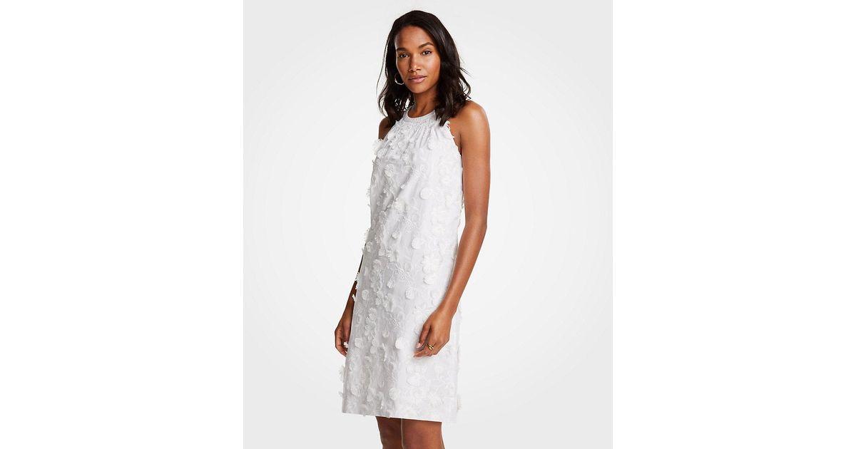 Ann taylor floral applique halter dress in white lyst