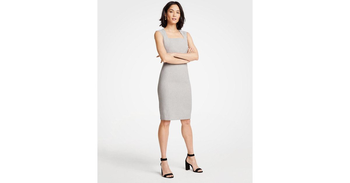 6375230a505 Lyst - Ann Taylor Petite Farrow Stripe Sheath Dress in Gray