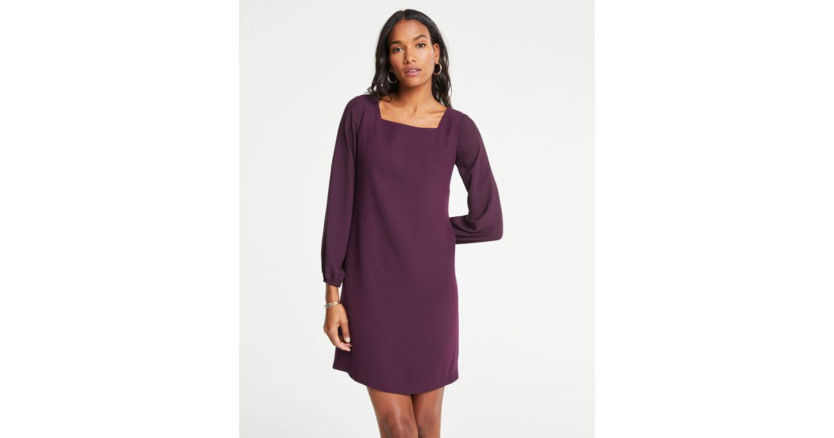 bbc9969dc4 Lyst - Ann Taylor Petite Sheer Sleeve Shift Dress in Purple
