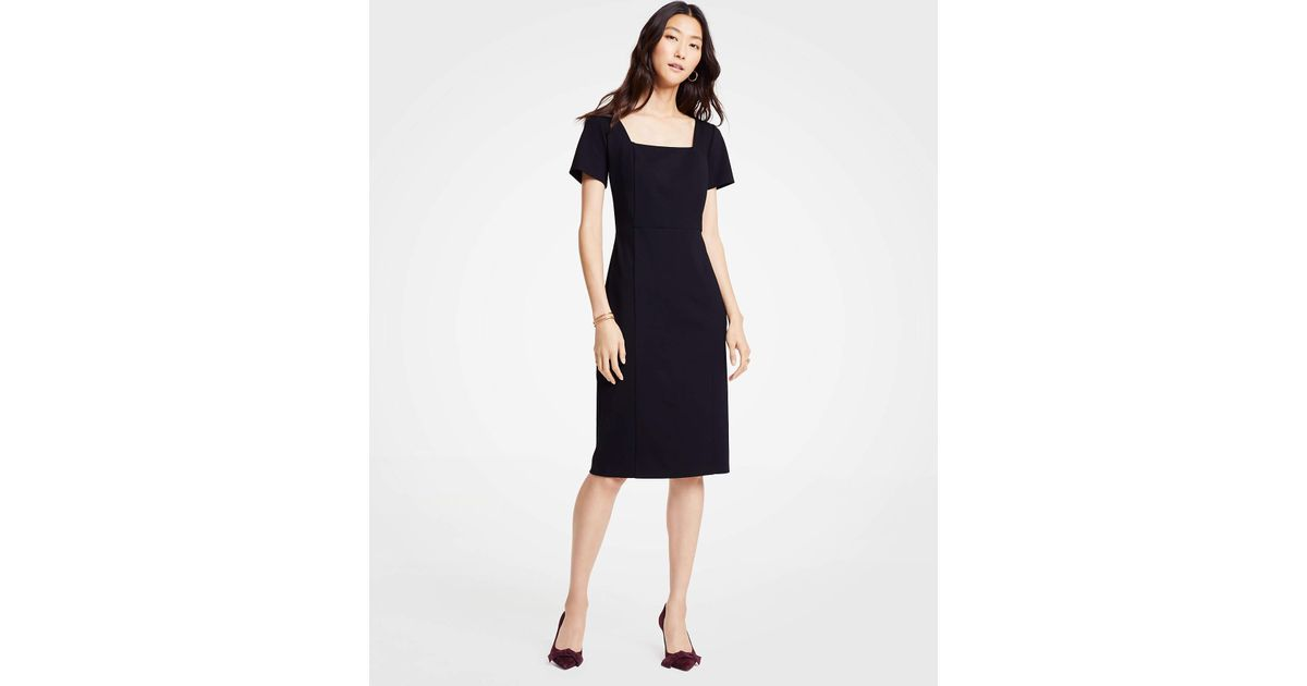 b190580b6f9 Ann Taylor Square Neck Ponte Sheath Dress in Black - Lyst