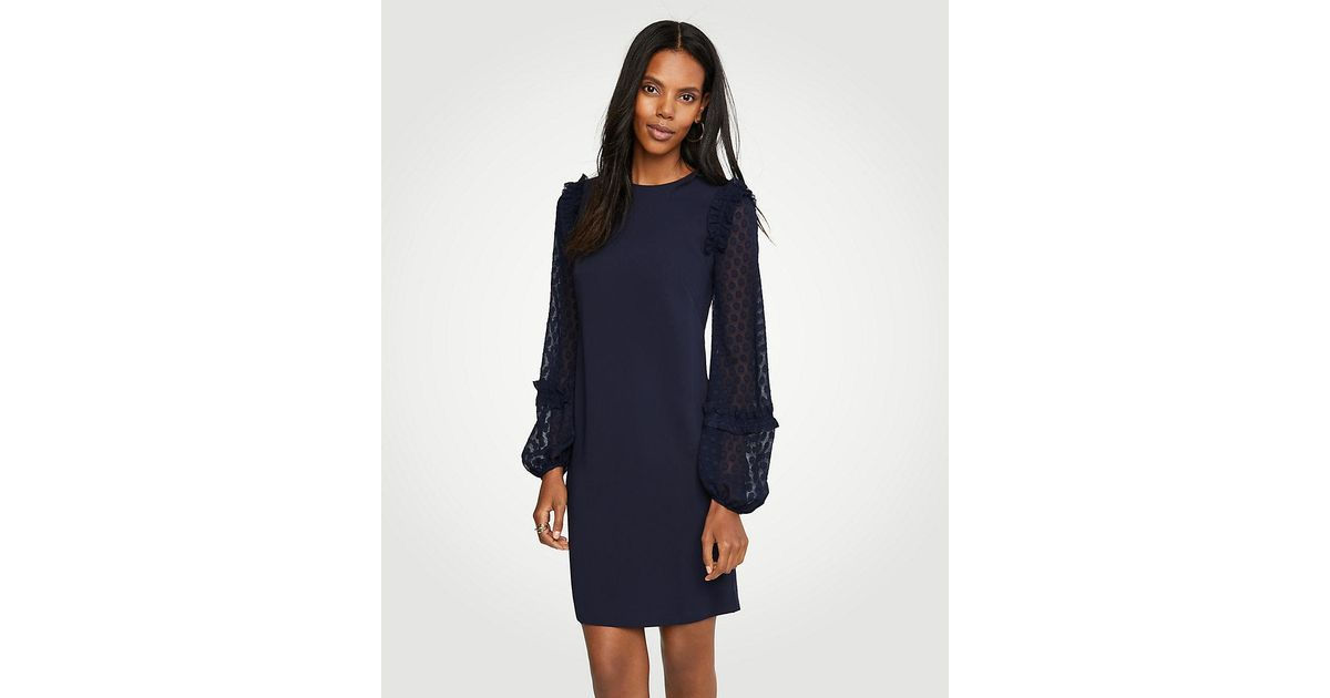 9c6e123bdc Lyst - Ann Taylor Petite Sheer Dot Sleeve Shift Dress in Blue