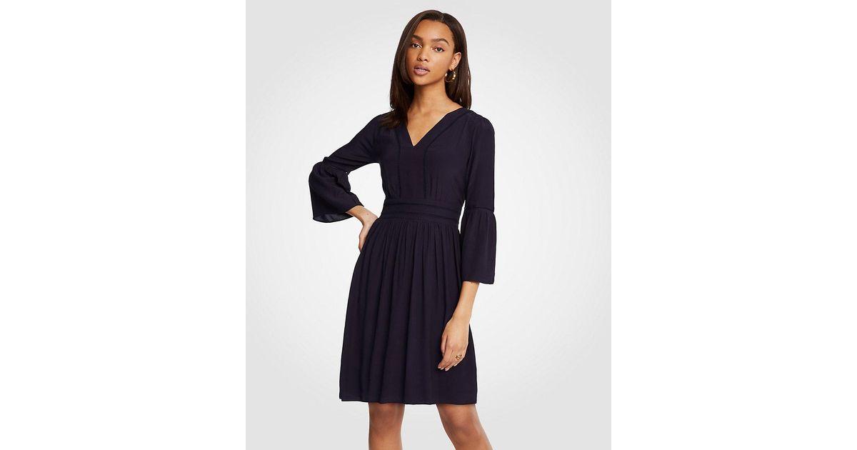ab712595310d Ann Taylor Cutout Flare Sleeve Dress in Blue - Lyst