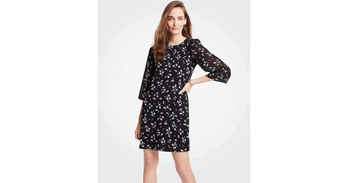 d7c717d3a9f8 Ann Taylor Petite Floral Chiffon Sleeve Shift Dress in Black - Lyst