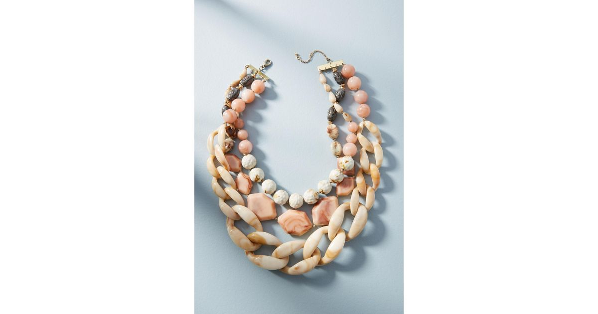Anthropologie Afterglow Layered Resin Necklace TrkFTwYrh