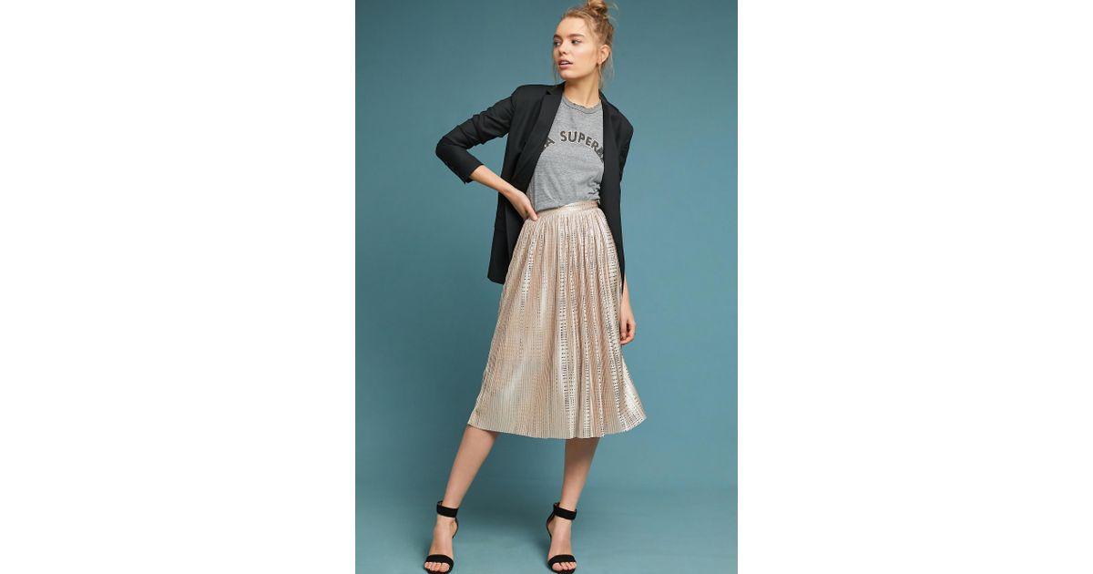 f59328a07b51 Anthropologie Cassia Shine Midi Skirt in Natural - Lyst