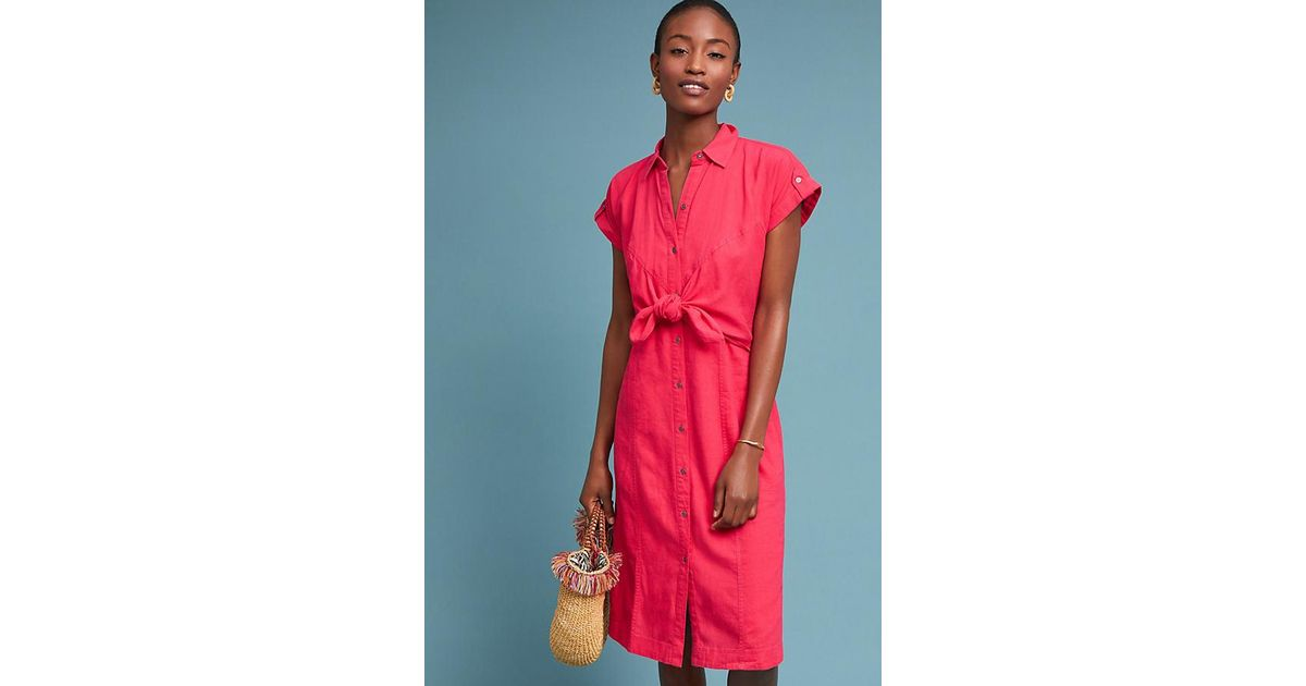 1d369bb3ec2 Maeve Elspeth Linen Shirtdress in Pink - Lyst