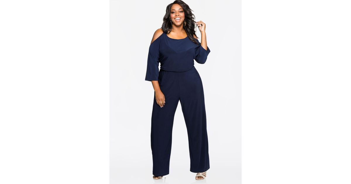46369a38e430 Lyst - Ashley Stewart Chain Link Cold Shoulder Jumpsuit in Blue