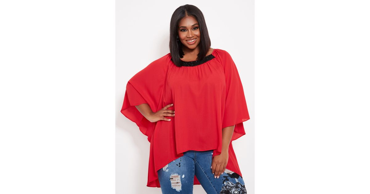 1ed84897709 Lyst - Ashley Stewart Plus Size Contrast Beaded Tunic Duster in Red