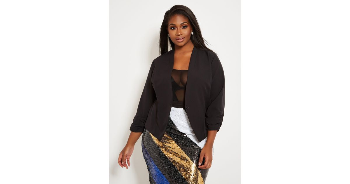 ae9d6af120ea9 Lyst - Ashley Stewart Plus Size Collarless Ruched Sleeve Blazer in Black