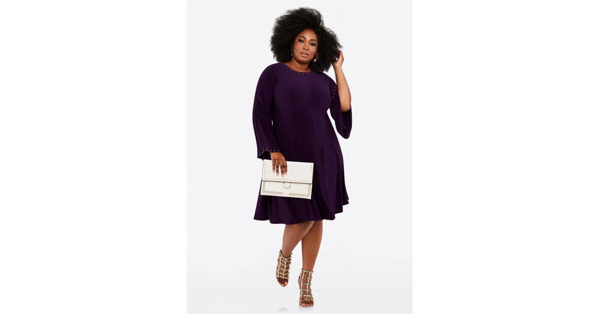 f1e792a716d Lyst - Ashley Stewart Plus Size Studded Trim Bell Sleeve Dress in Purple