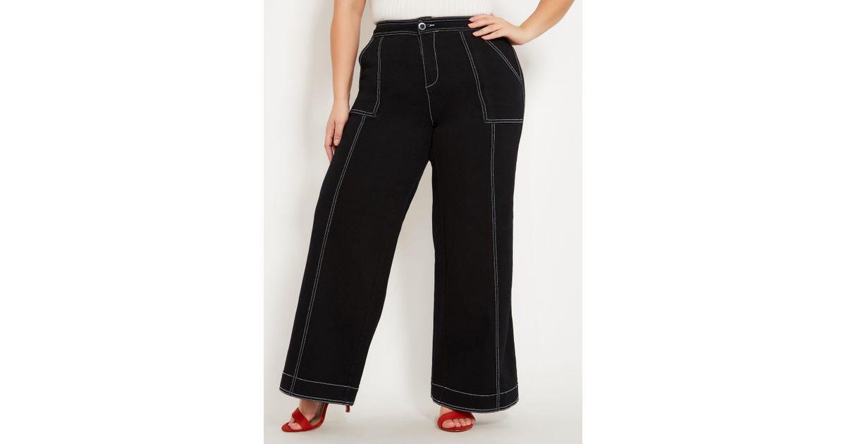 ae14b60e4f5 Lyst - Ashley Stewart Plus Size Wide Leg Contrast Stitch Jean in Black