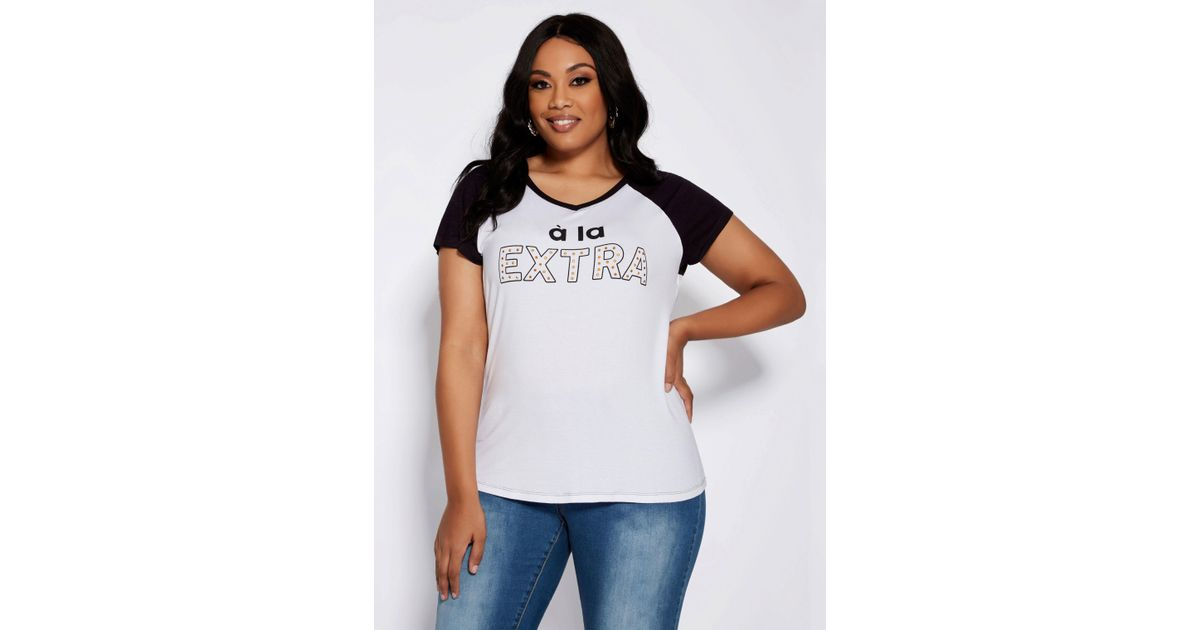 2e2db35286d Lyst - Ashley Stewart Plus Size A La Extra Graphic Tee in White