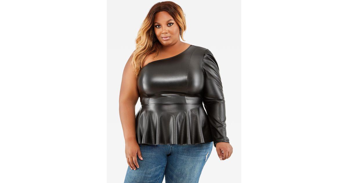 Lyst Ashley Stewart Plus Size One Shoulder Leather Peplum Top In Black