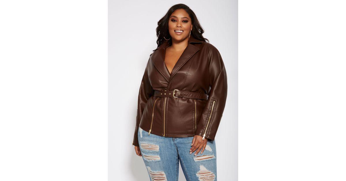 b9a8f298e06 Lyst - Ashley Stewart Plus Size Faux Leather Biker Jacket in Brown