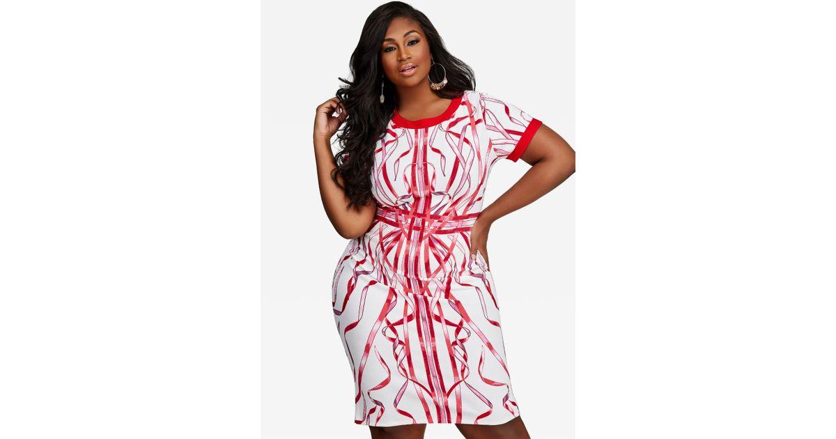 29e8bf8a Lyst - Ashley Stewart Ribbon Print Sheath Dress in Red
