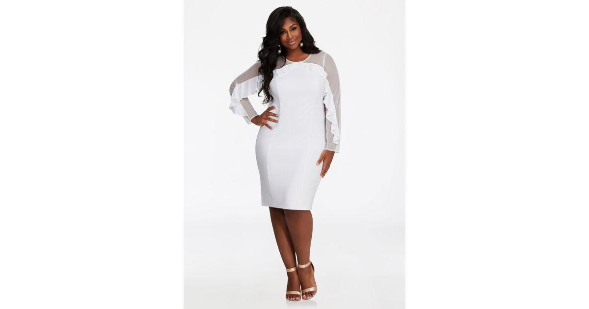 386666c9a8d Ashley Stewart Mesh Neck Ruffle Dress in White - Lyst