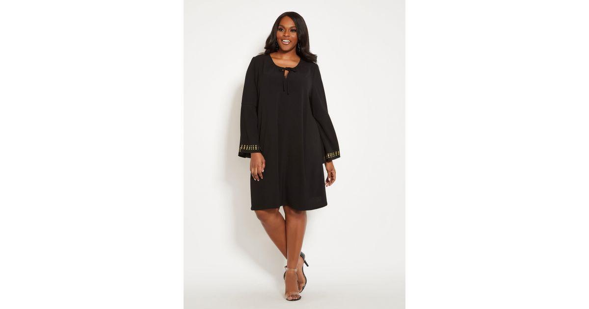 Lyst Ashley Stewart Plus Size Tie Neck Studded Dress In Black