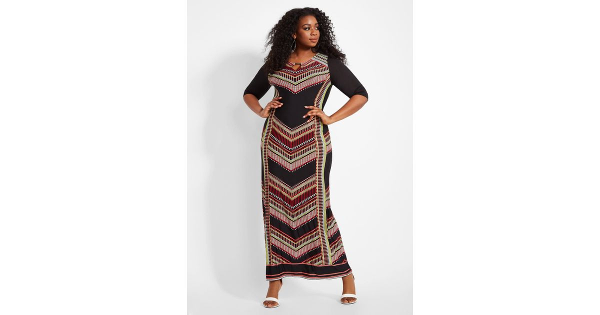 Ashley Stewart Plus Size Chevron Dress With Gold Bar Accent in Black ...