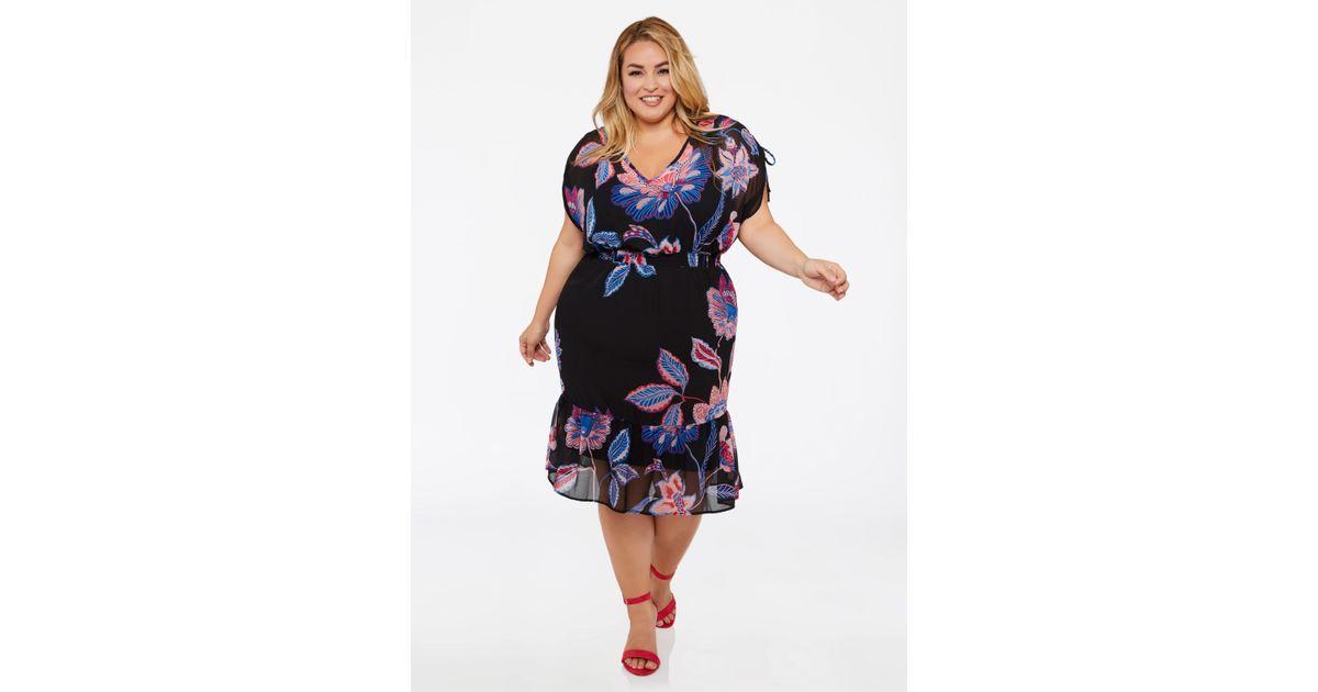 Ashley Stewart Plus Size Floral V Neck Ruffle Hem Dress in Blue - Lyst