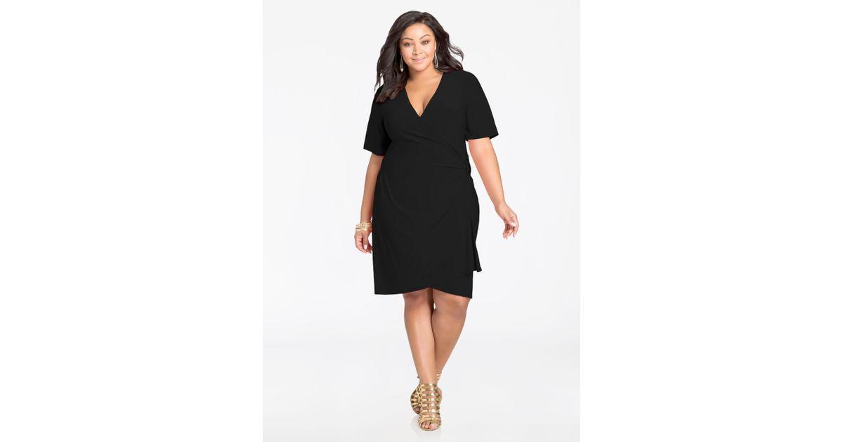 Lyst Ashley Stewart Elbow Sleeve Wrap Dress With Buckle In Black