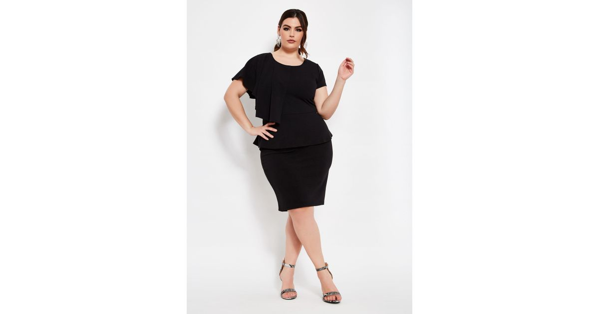 Ashley Stewart - Black Plus Size Asymmetrical Ruffle Peplum Dress - Lyst