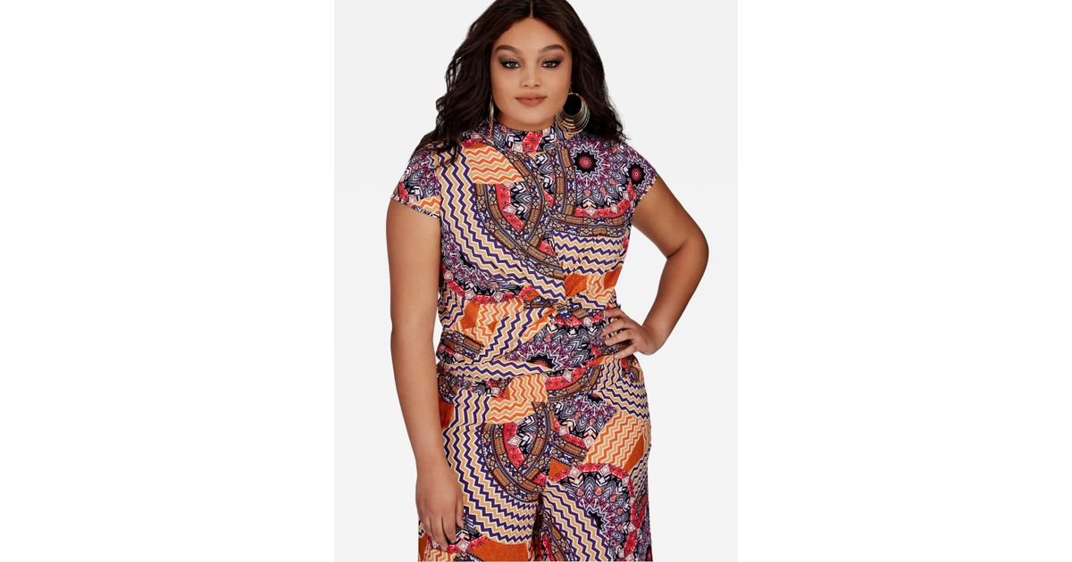2b30b1524b1 Lyst - Ashley Stewart Plus Size Moroccan Print Twist Front Top