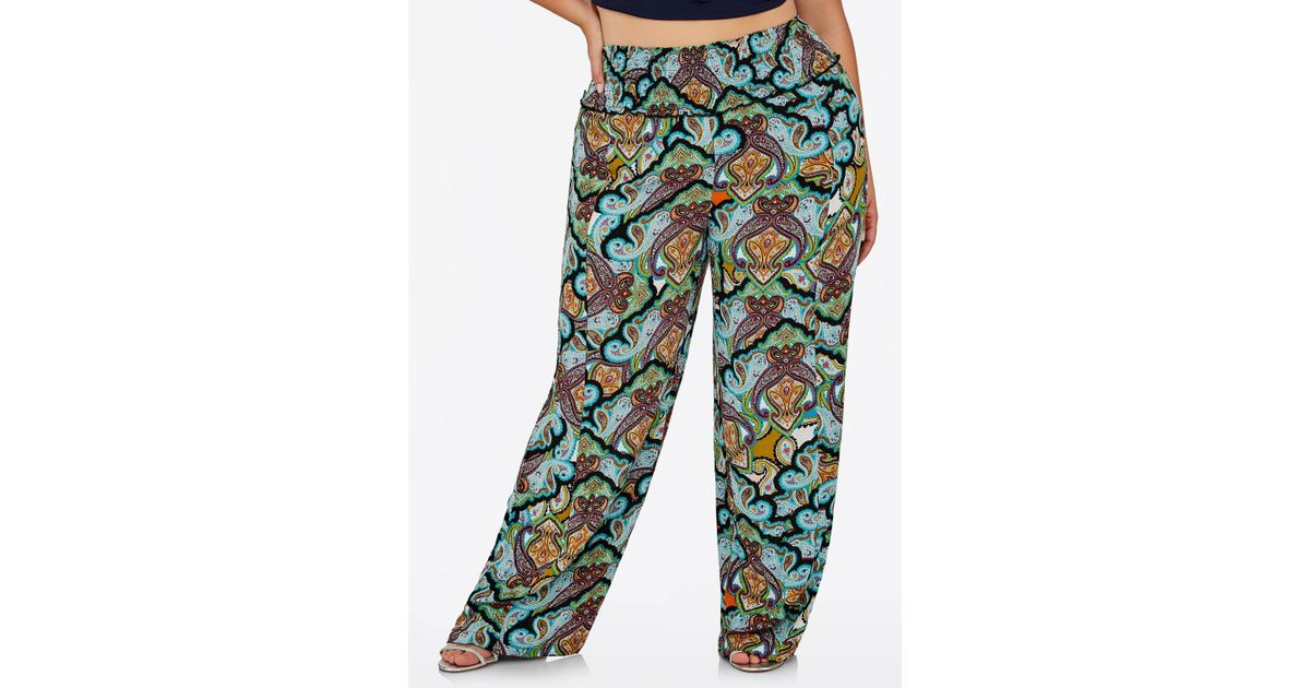 47d9b68669dad Lyst - Ashley Stewart Plus Size Paisley Print Wide Leg Pant in Black