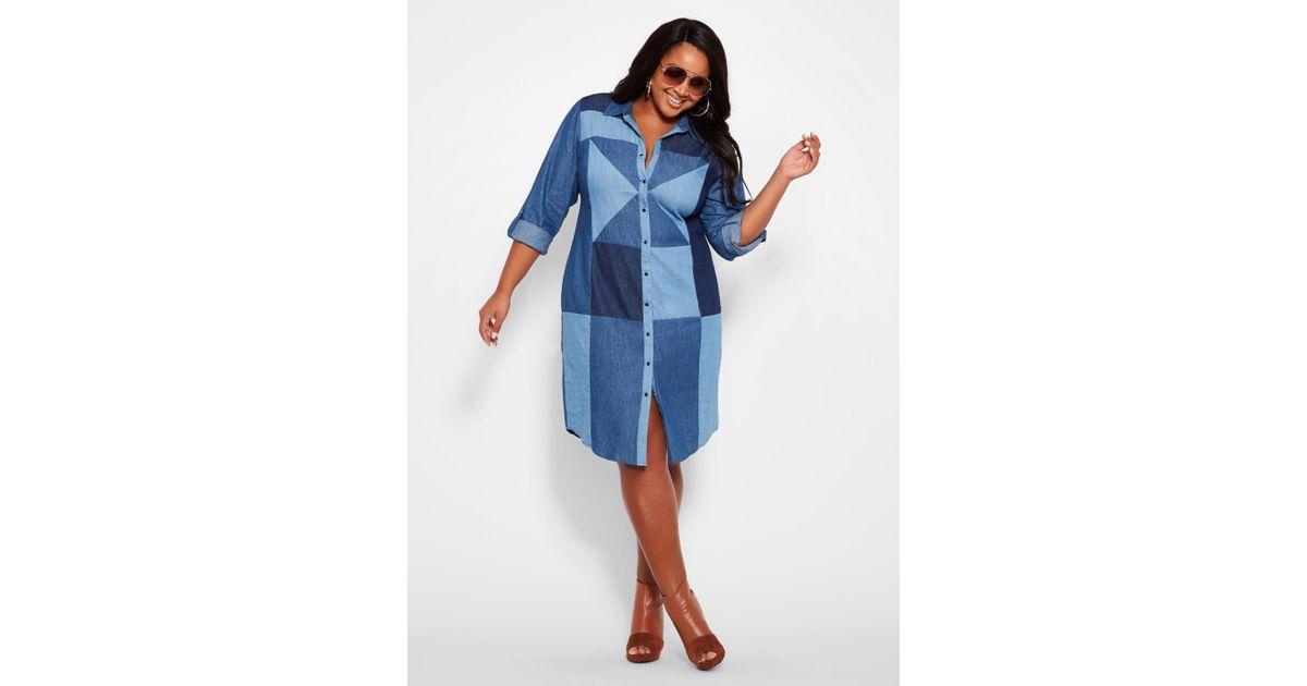 Ashley Stewart Plus Size Denim Patchwork Shirt Dress in Blue - Lyst