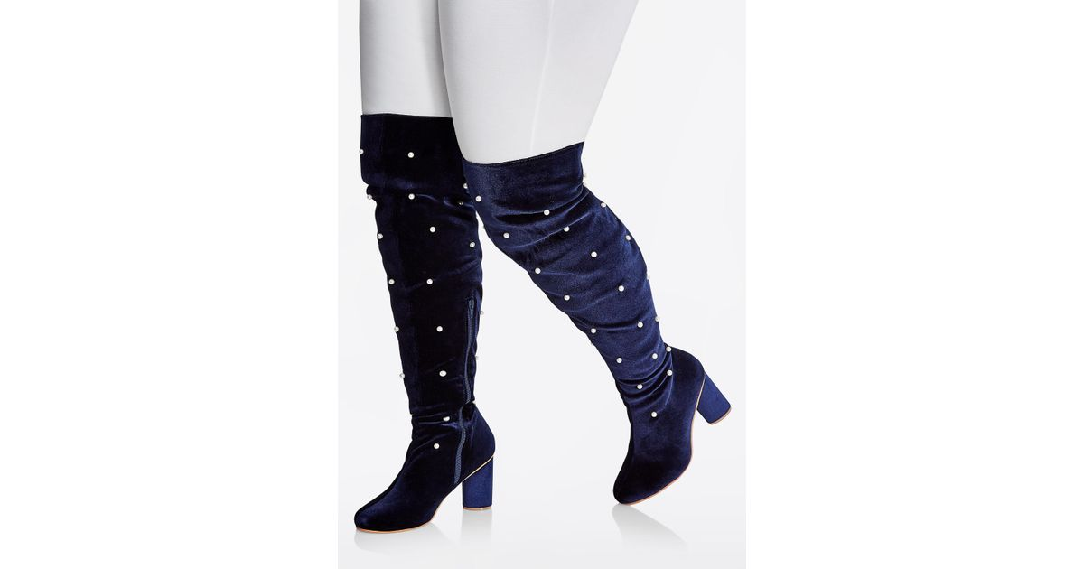 4c9dfd3b411 Lyst - Ashley Stewart Over-knee Velvet Pearl Boot - Wide Width in Blue