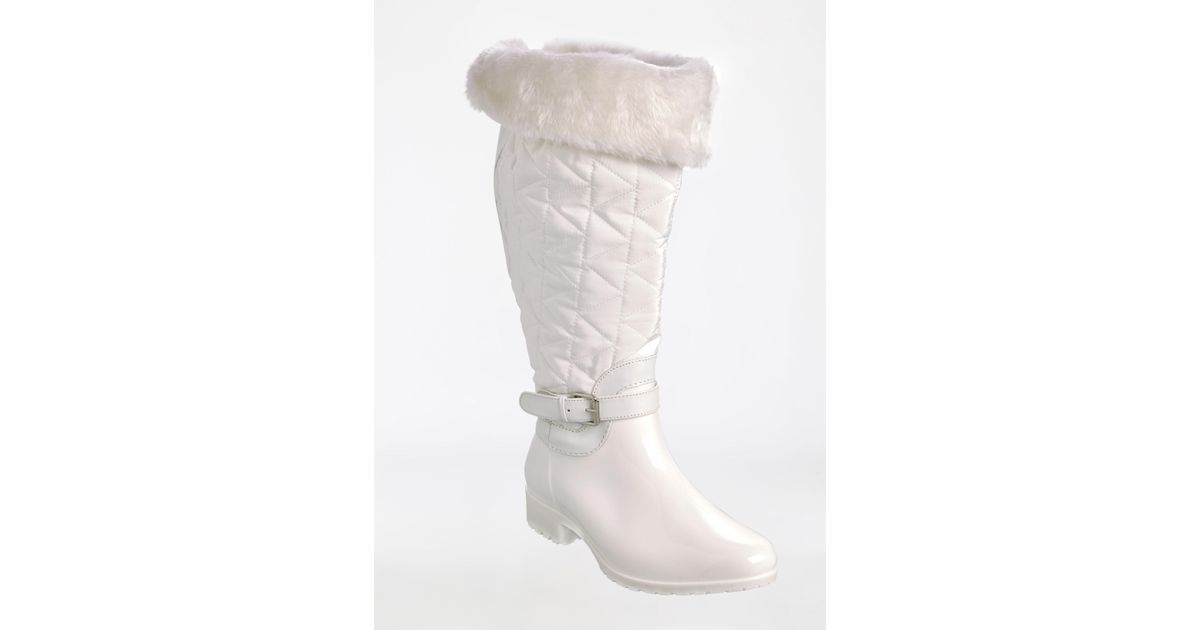 f1c66d8b19a Lyst - Ashley Stewart Side Buckle Quilted Fur-lined Boot - Wide Width - Wide  Calf in White