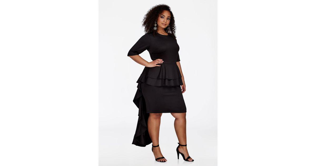 Lyst Ashley Stewart Layered Peplum Dress With Train In Black
