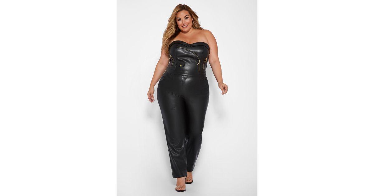 231dd0deaeb10 Lyst - Ashley Stewart Plus Size Faux Leather Jumpsuit in Black