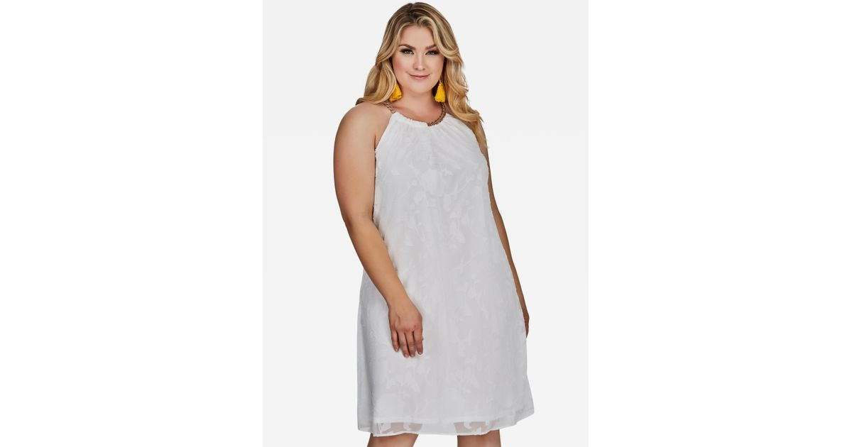 Lyst - Ashley Stewart Plus Size Floral Burnout Halter Dress in White