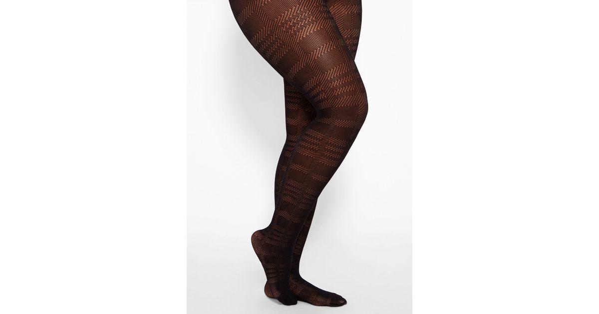 5833cfabbae Lyst - Ashley Stewart Plus Size Plaid Net Tights in Black