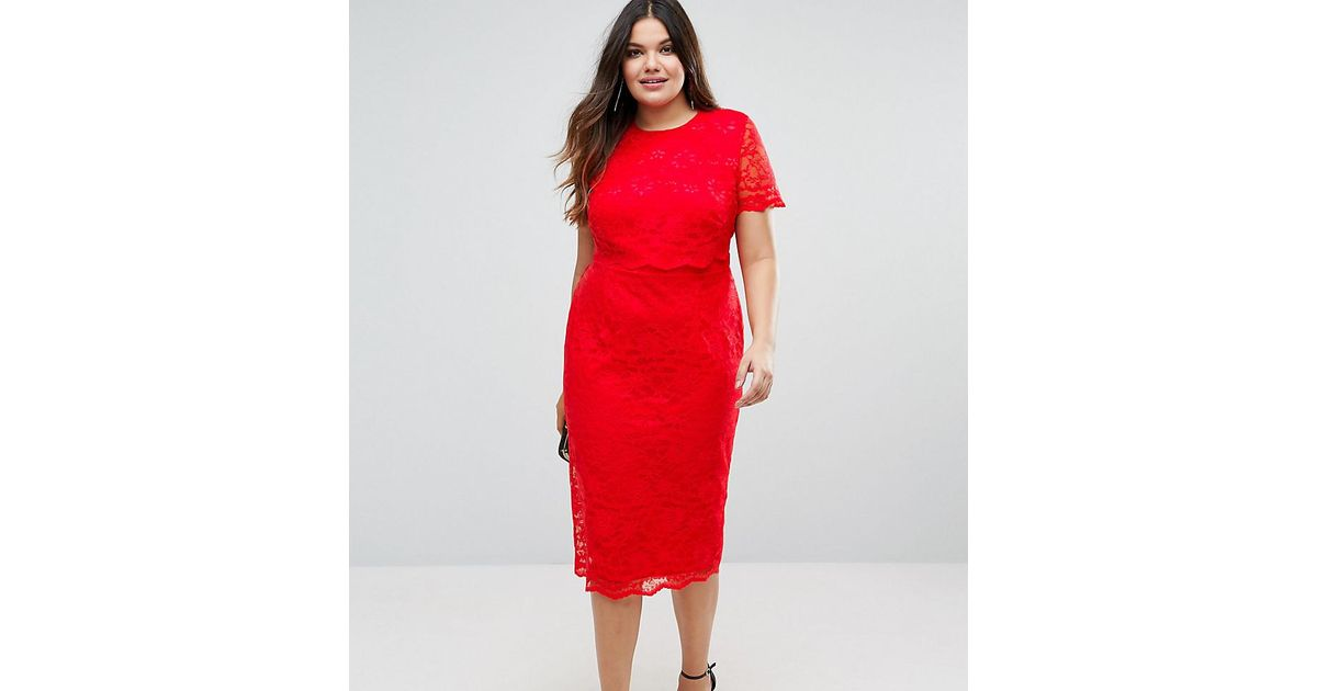a86ec389 ASOS Lace Crop Top Midi Pencil Dress in Red - Lyst