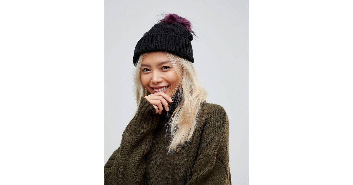 2c7817501966cd Lyst - Urbancode Chunky Knit Beanie Hat With Oversized Pom in Black