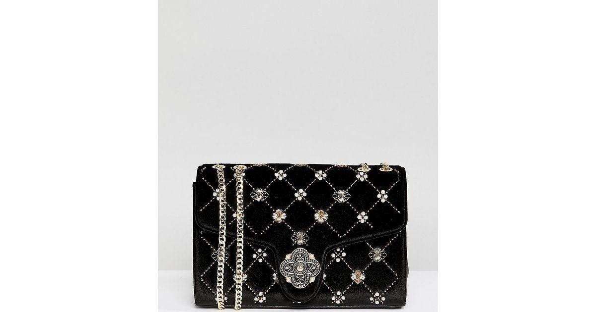 2e7e3ca1825e9 Dune Erabia Black Velvet Embroidered Cross Body Bag With Clasp Detail in  Black - Lyst