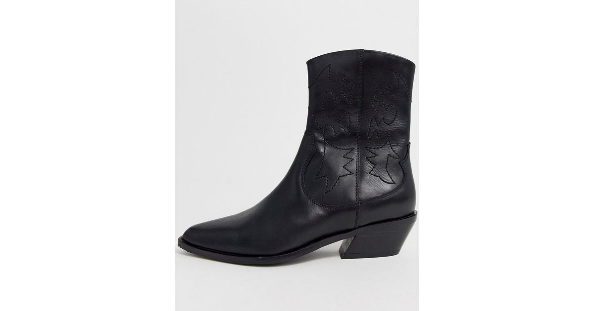 e90c691fa5b ASOS - Autumnal Leather Western Boots In Black - Lyst