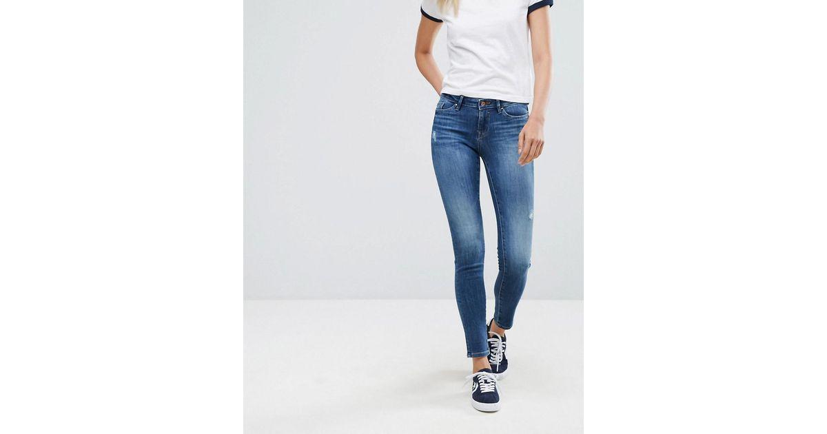 Frayed Hem Distressed Skinny Jeans - Authentic wash Esprit kyeuWiic