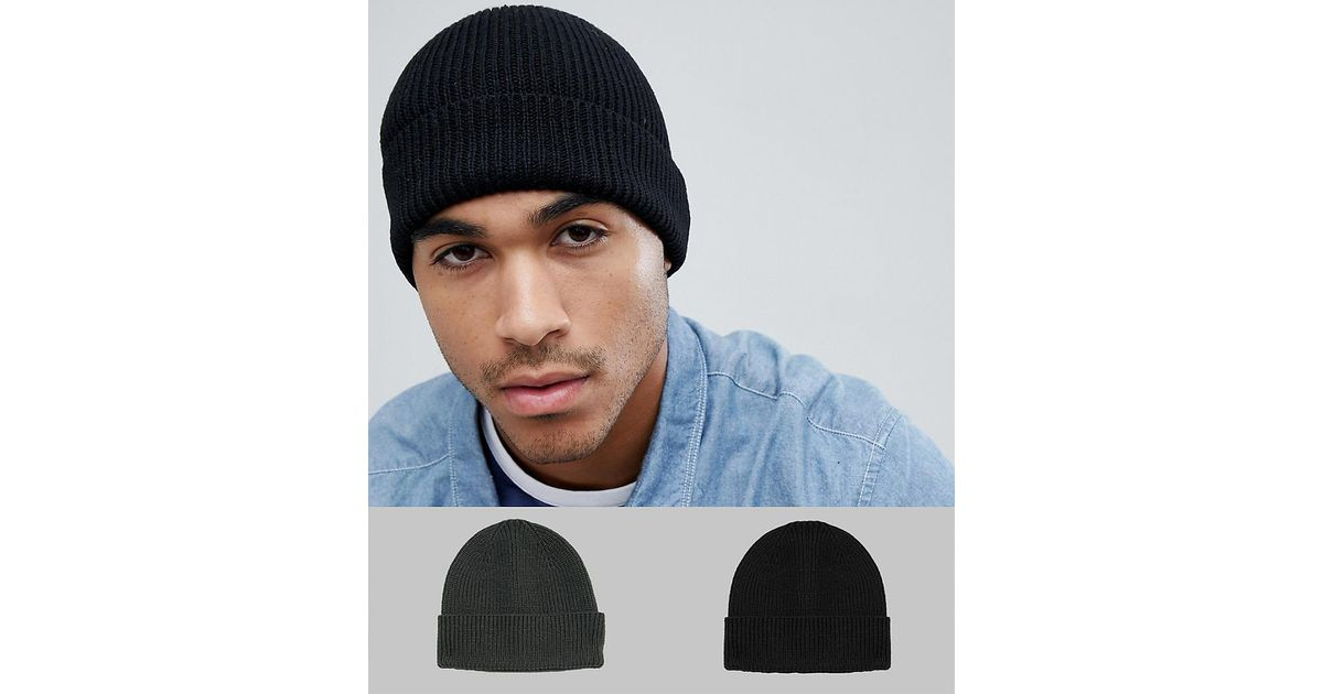 19b16382de1 Lyst - ASOS Fisherman Beanie 2 Pack In Black   Olive Recycled Polyester Save  in Black for Men