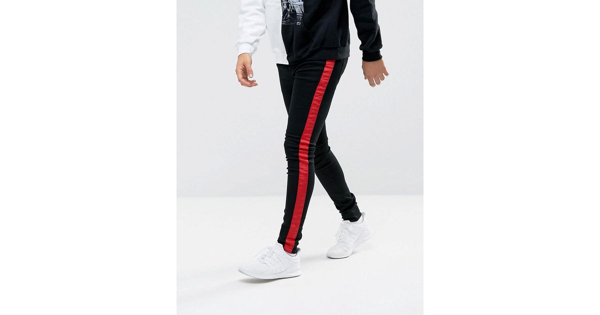 c0e96b5b6c Sixth June Super Skinny Jeans In Black With Red Stripe in Black for Men -  Lyst