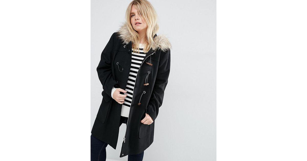 c886e1130cc Lyst - ASOS Wool Blend Faux Fur Hooded Duffle Coat in Black