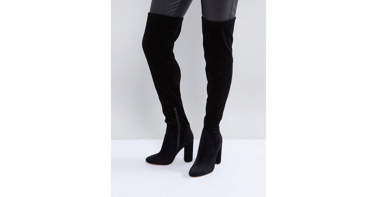2d27a54f9c0 Lyst - ALDO Tenesha Velvet Over The Knee Boots in Black