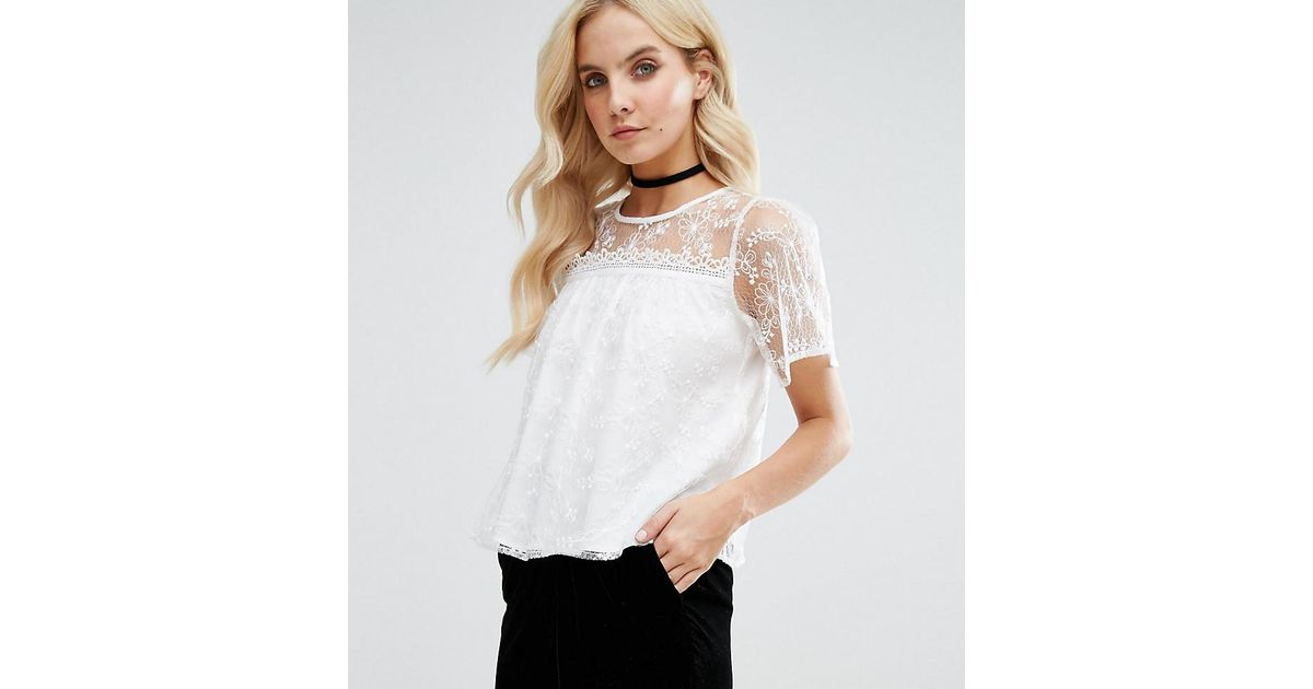 Miss selfridge d lace applique top in white lyst
